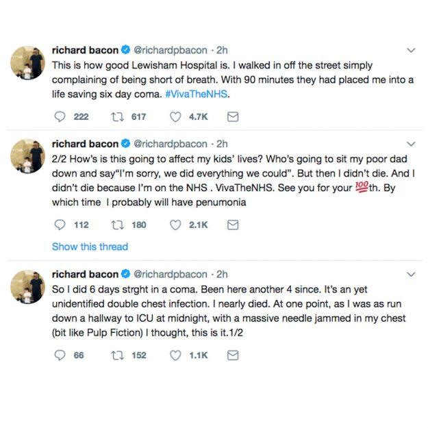 Richard Bacon spricht nach sechs Tagen in einem medizinisch induzierten Koma