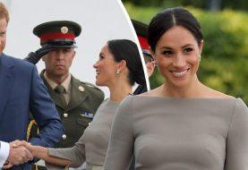Meghan Markle glänzt im sittsamen olivgrünen Gewand, als sie den irischen Präsidenten neben Prinz Harry während des Irlandbesuchs trifft