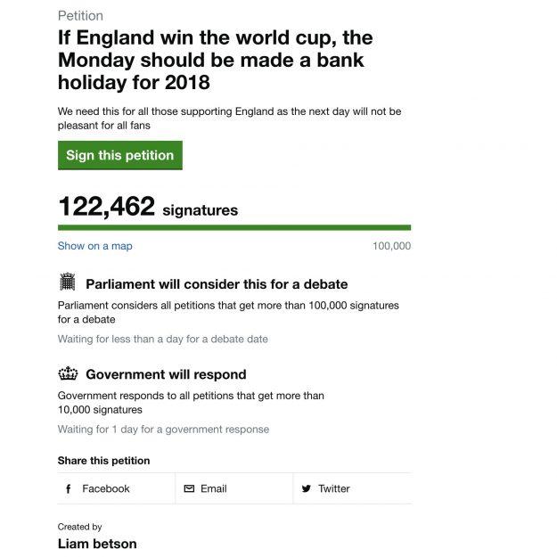 Mehr als 100.000 Menschen haben eine Petition für eine Bank Holiday nach der Weltmeisterschaft unterstützt