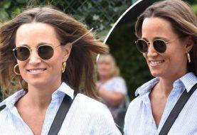 Pippa Middleton strahlt, als sie in Wimbledon mit Bruder James Middleton einen wachsenden Babybauch zeigt