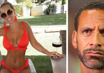 """Kate Wright zeigt üppiges Vermögen und eine winzige Taille in einem vibrierenden Bikini - wie Rio Ferdinand nach der WM-Niederlage """"nach Hause bringt"""""""