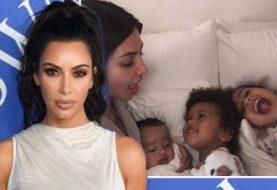 Kim Kardashian teilt seltenes Bild aller DREI ihrer Kinder in curly cute Bild auf Instagram